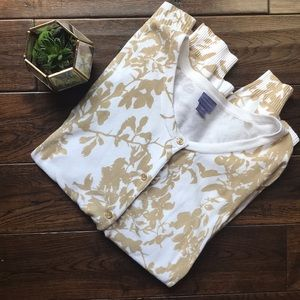 Laura Scott XL cardigan tan and white floral EUC